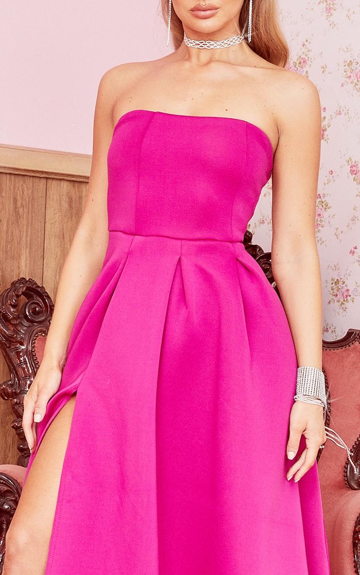 Hot Pink Scuba Bandeau Maxi Dress 4