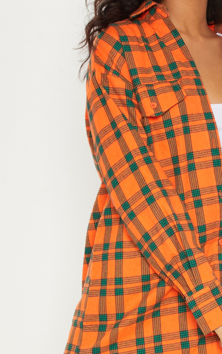 Orange Tartan Checked Oversized Shirt 5