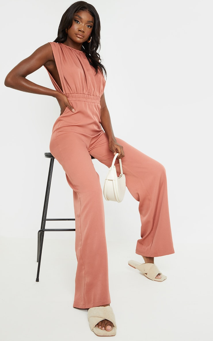 Tall Washed Rust Ruched Shoulder Cinched Waist Wide Leg Jumpsuit