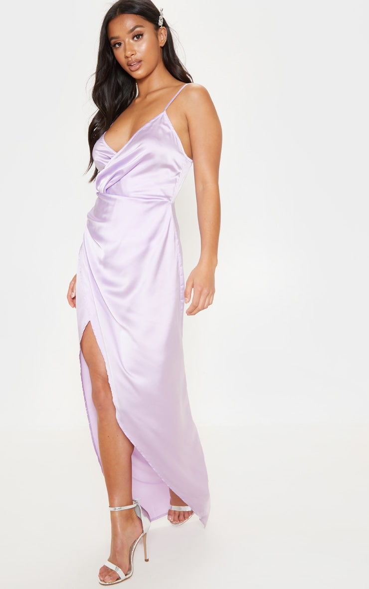 Petite Lilac Satin Wrap Detail Maxi Dress 4