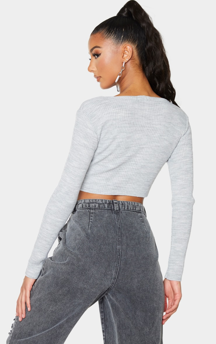 Grey Ruched Tie Front Crop Sweater 2