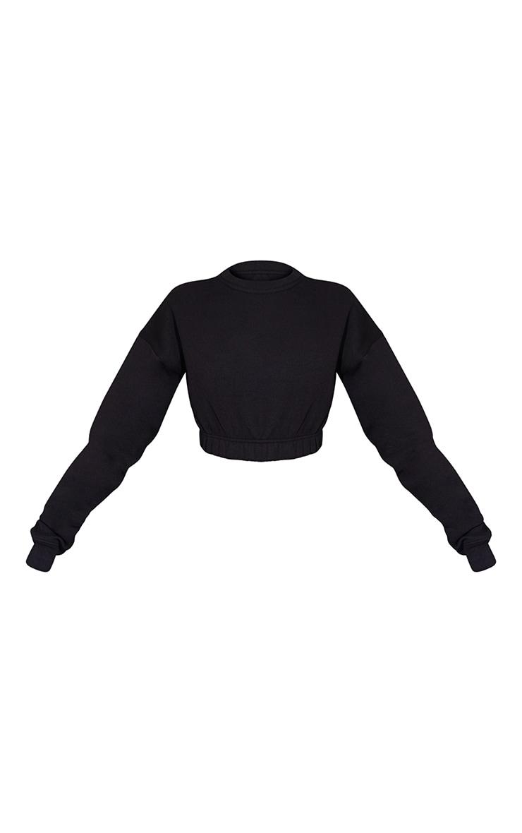 Black Ruched Hem Cropped Sweatshirt 5
