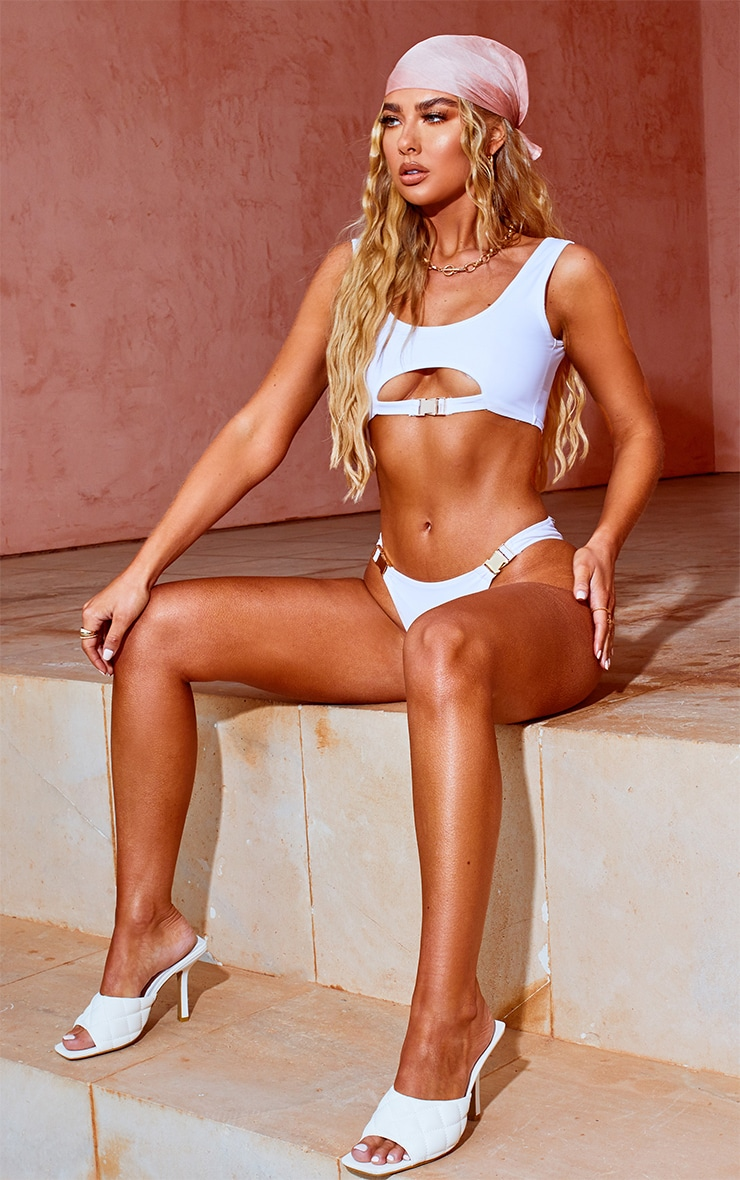 White Buckle Scoop Neck Bikini Top