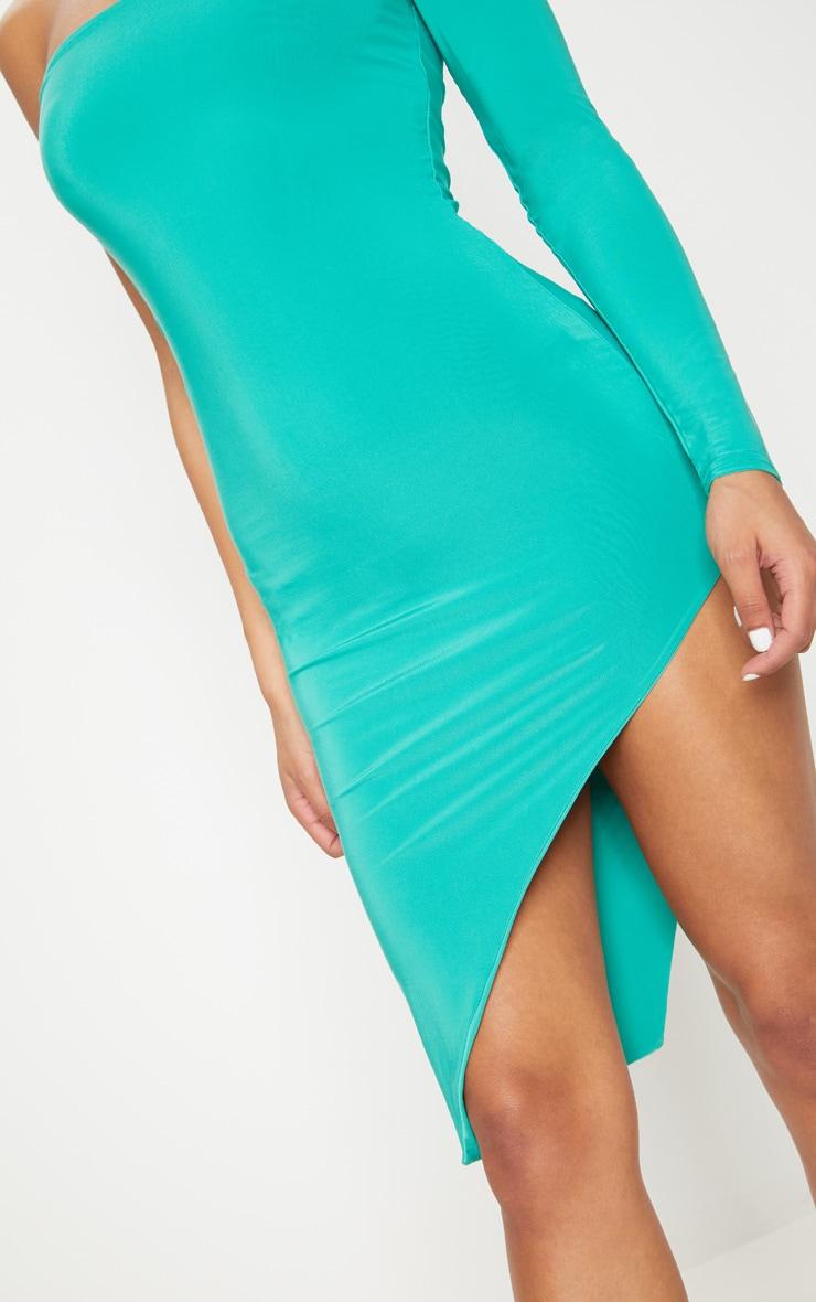 Turquoise One Shoulder Long Sleeve Exreme Split Dress 5