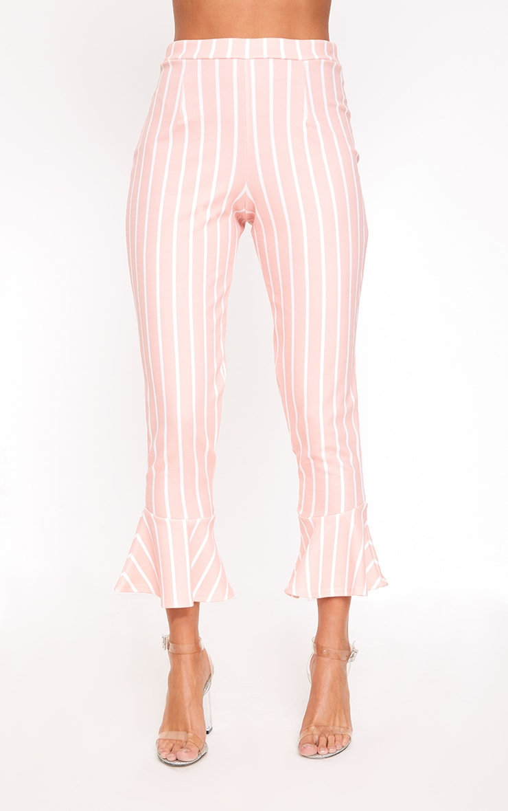 Blush Striped Flare Hem Trousers 2