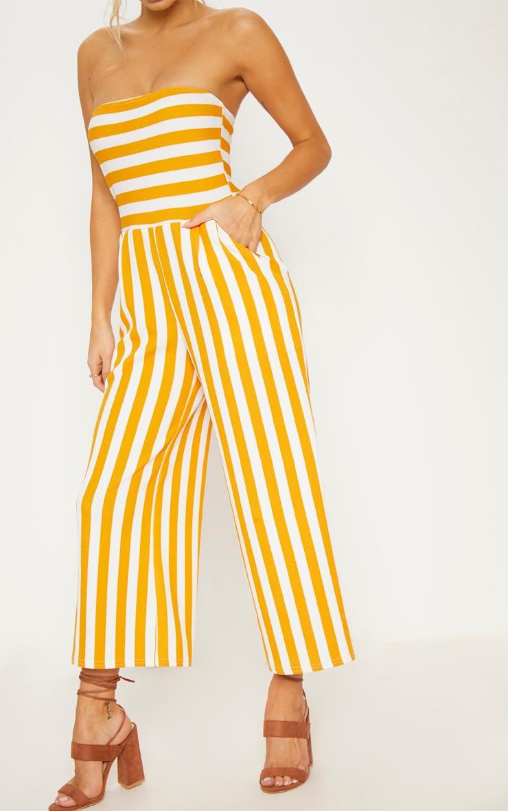 Mustard Contrast Stripe Bandeau Culotte Jumpsuit 6