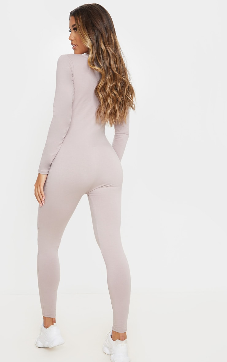 Pale Mauve Seamless Cotton Elastane V Neck Jumpsuit 2