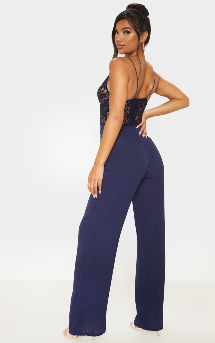 Navy Lace Wide Leg Jumpsuit 2