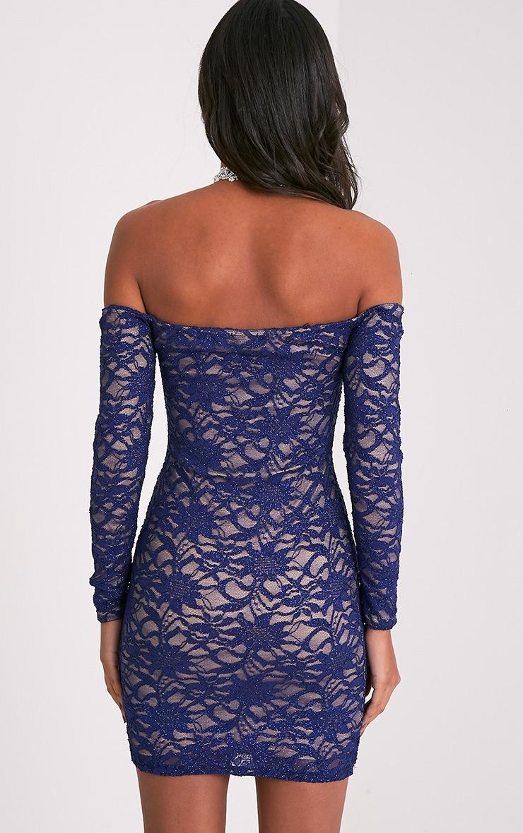 Lorinia Blue Glitter Lace Bardot Bodycon Dress 4