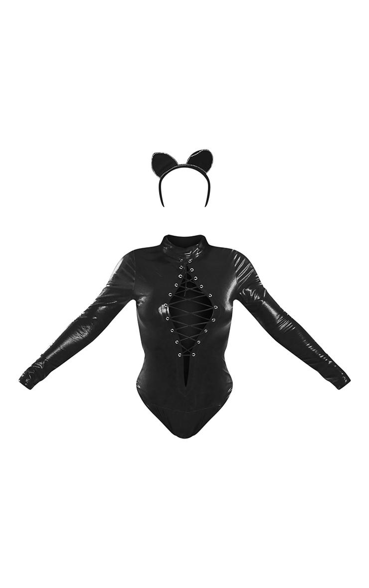 Black Sexy Cat Diamante Ears Costume 5