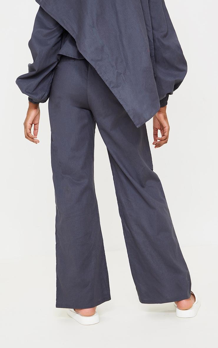Navy Woven Wide Leg Pants 3