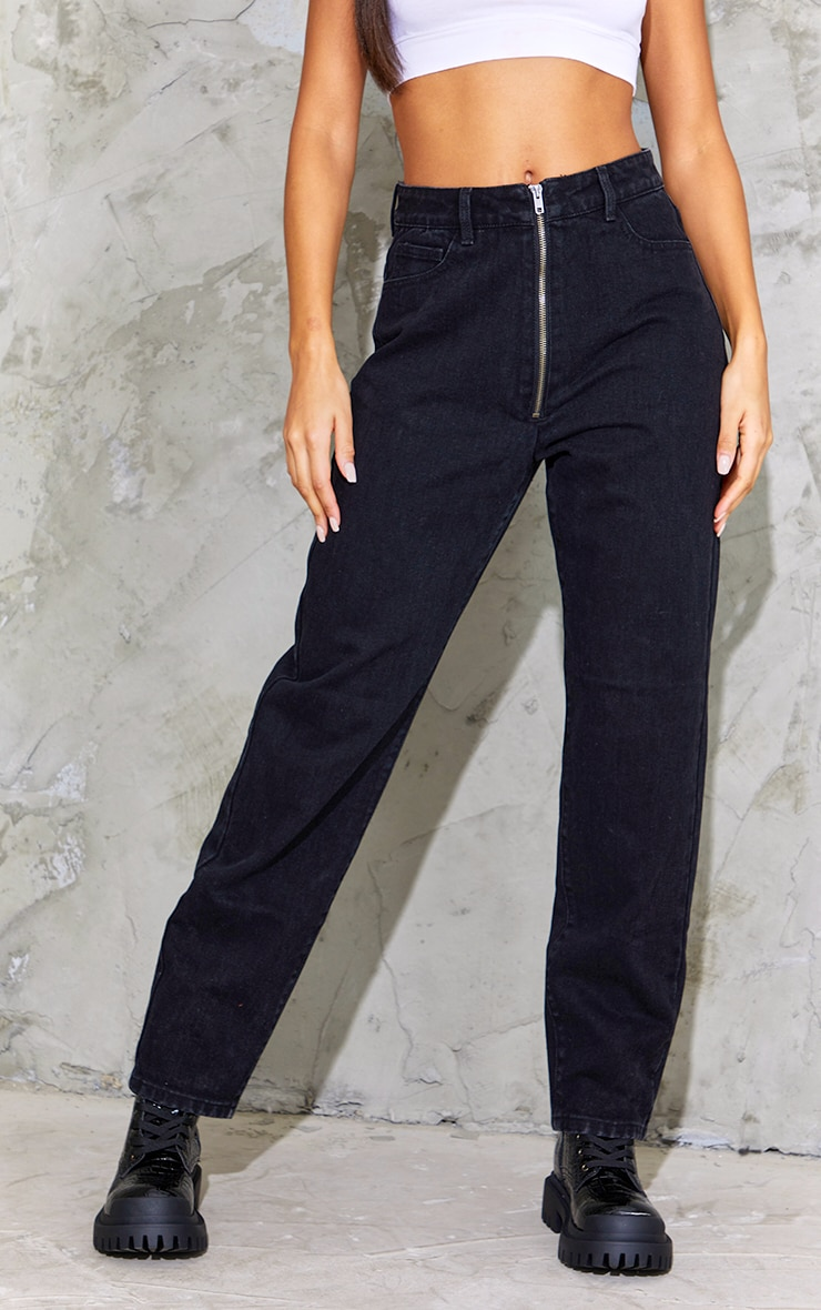 Washed Black Bum Zip Detail Mom Jeans 2