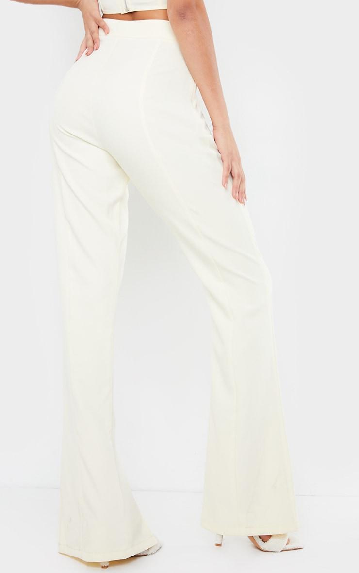 Cream Woven Seam Front Split Hem Flared Pants 3
