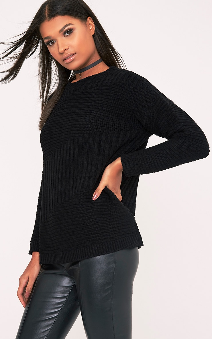 Emersyn Black Two Way Chunky Knit Jumper 4