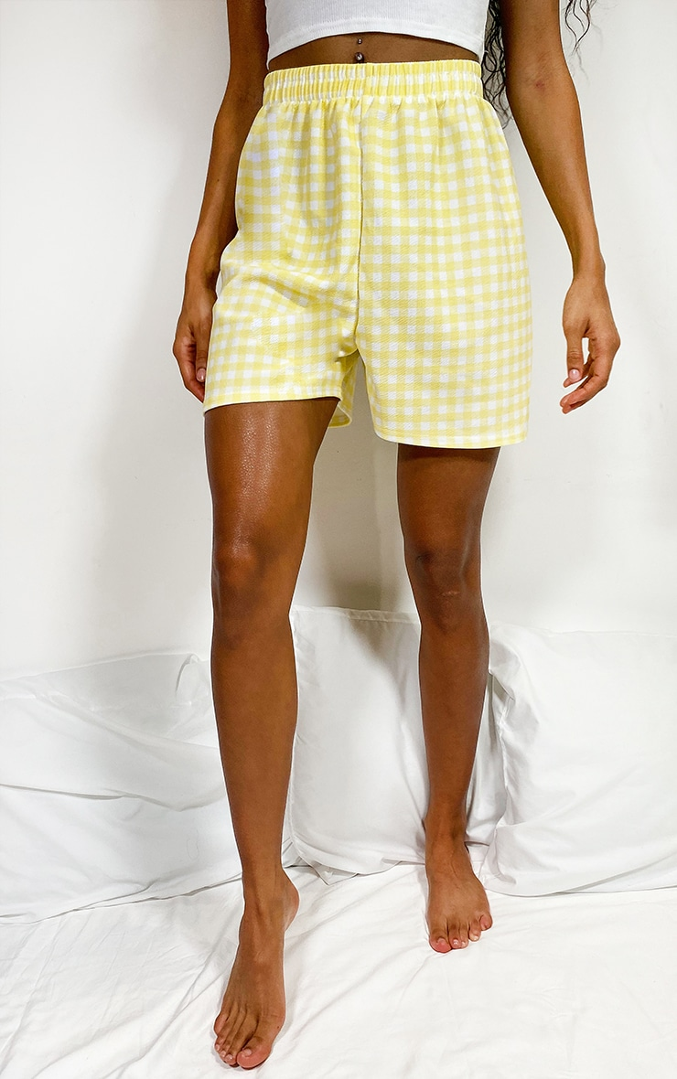 Lemon Gingham Oversized Floaty Shorts 2