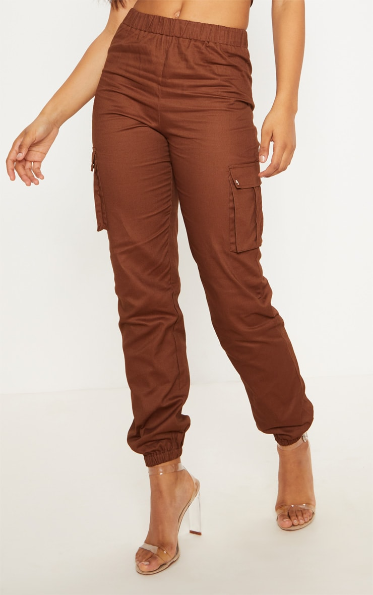 Tall Chocolate Brown Pocket Detail Cargo Pants 2