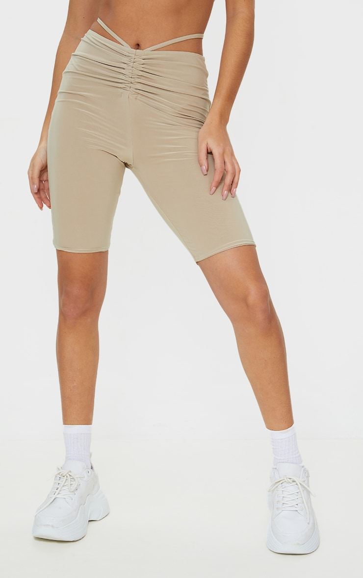 Stone Slinky Ruched Waist Cycle Shorts 2
