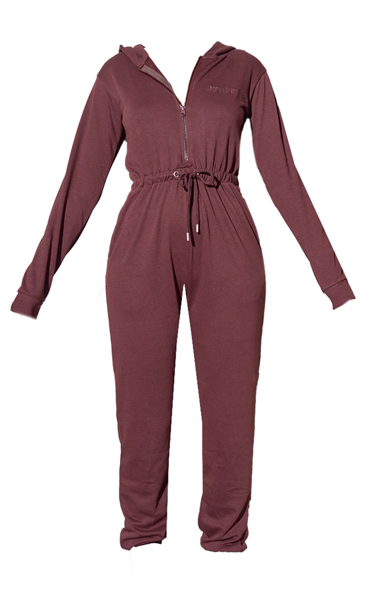 RENEW PRETTYLITTLETHING Chocolate Hooded Sweat Jumpsuit 5