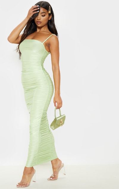 Sage Green Strappy Slinky Ruched Back Maxi Dress