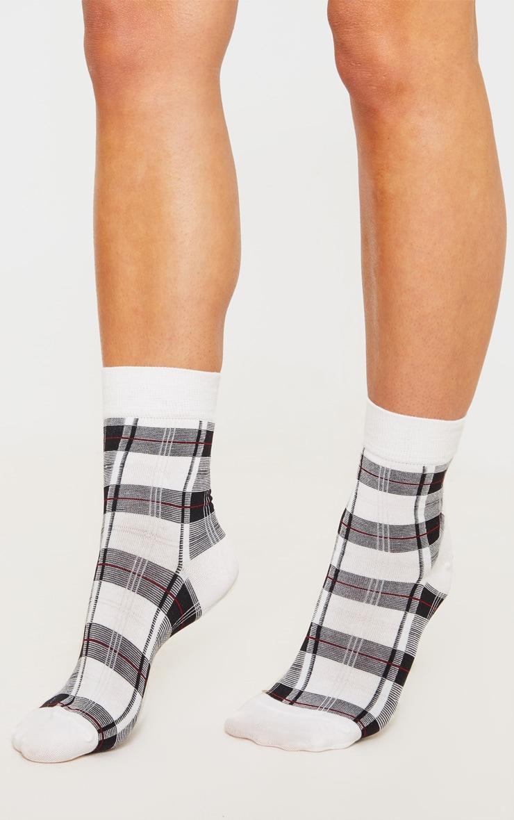 White Check Socks 1
