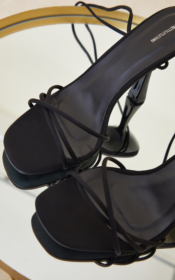 Black Lycra Cross Over Lace Up Cake Stand Mid Heels 4