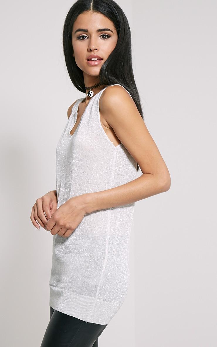 Ceara Grey Sleeveless Metalic Knitted Vest 4