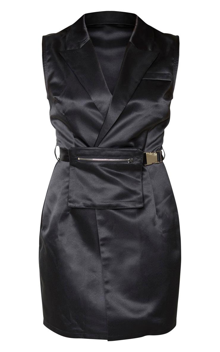 Black Satin Belt Pocket Detail Sleeveless Blazer Dress 5