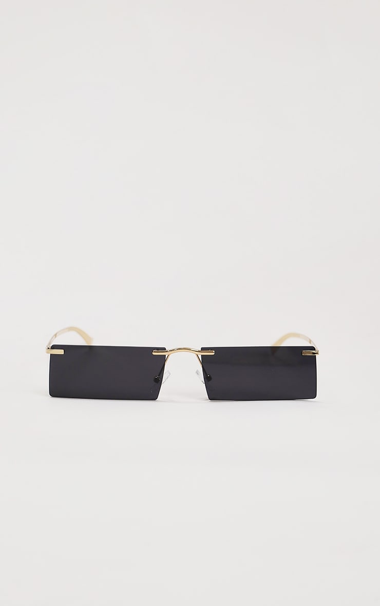 Black Gold Trim Square Lens Sunglasses 2