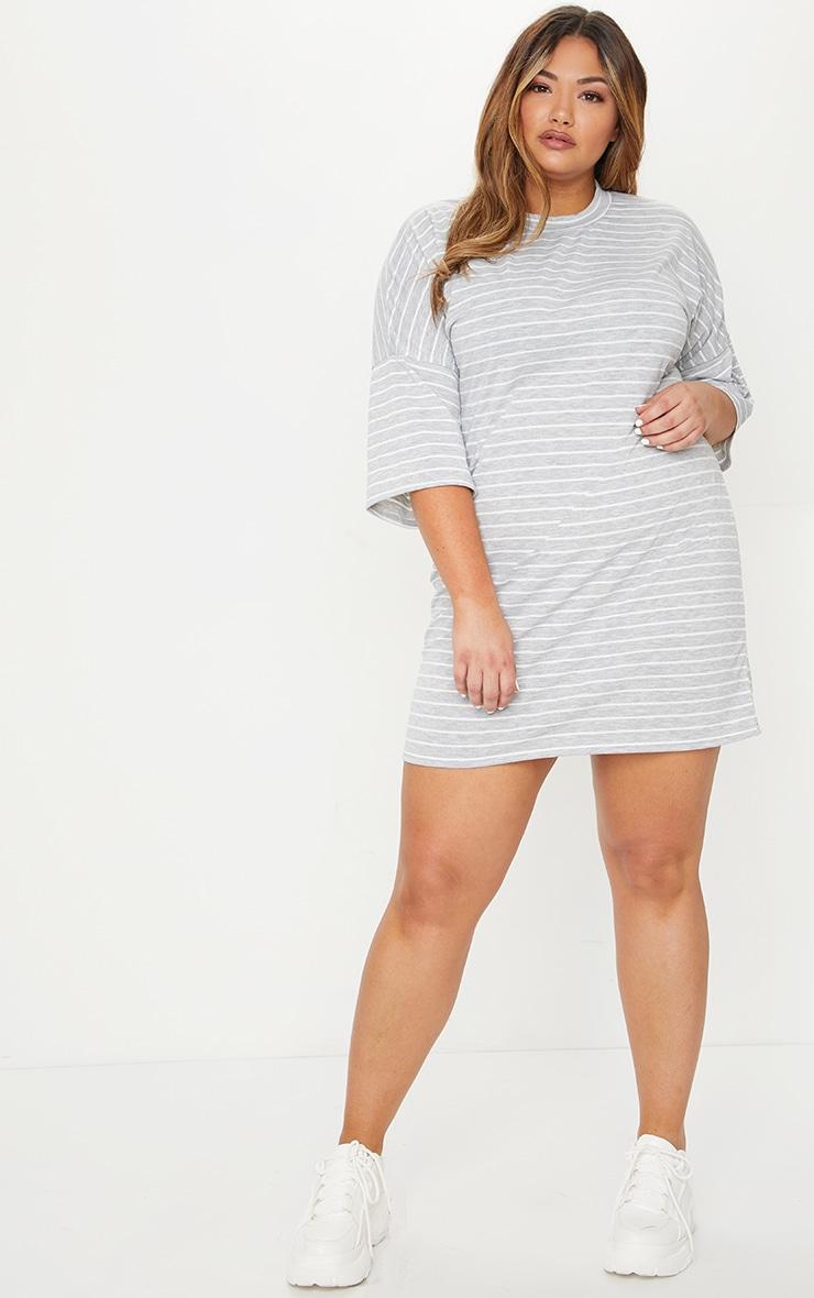 Plus Grey Striped Oversized T Shirt Dress 3