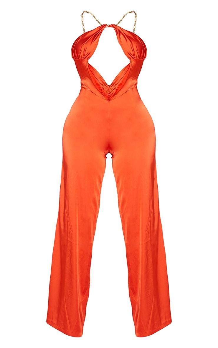 Shape Orange Satin Chain Detail Scoop Back Jumpsuit 5