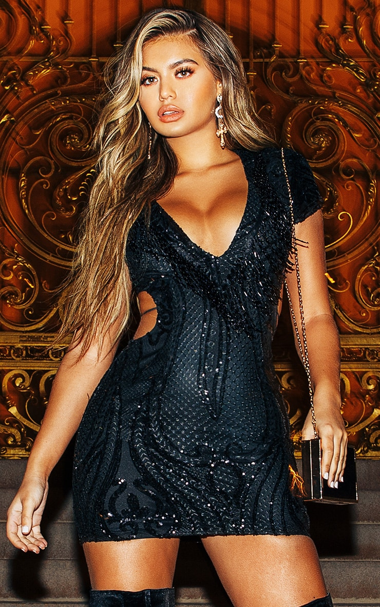 Black Sequin Bead Tassel Bodycon Dress 1