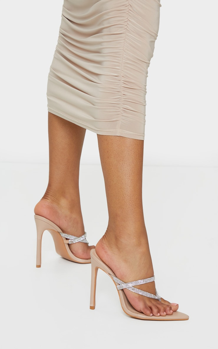 Nude Point To Clear Diamante Toe Through Strap Heels 2