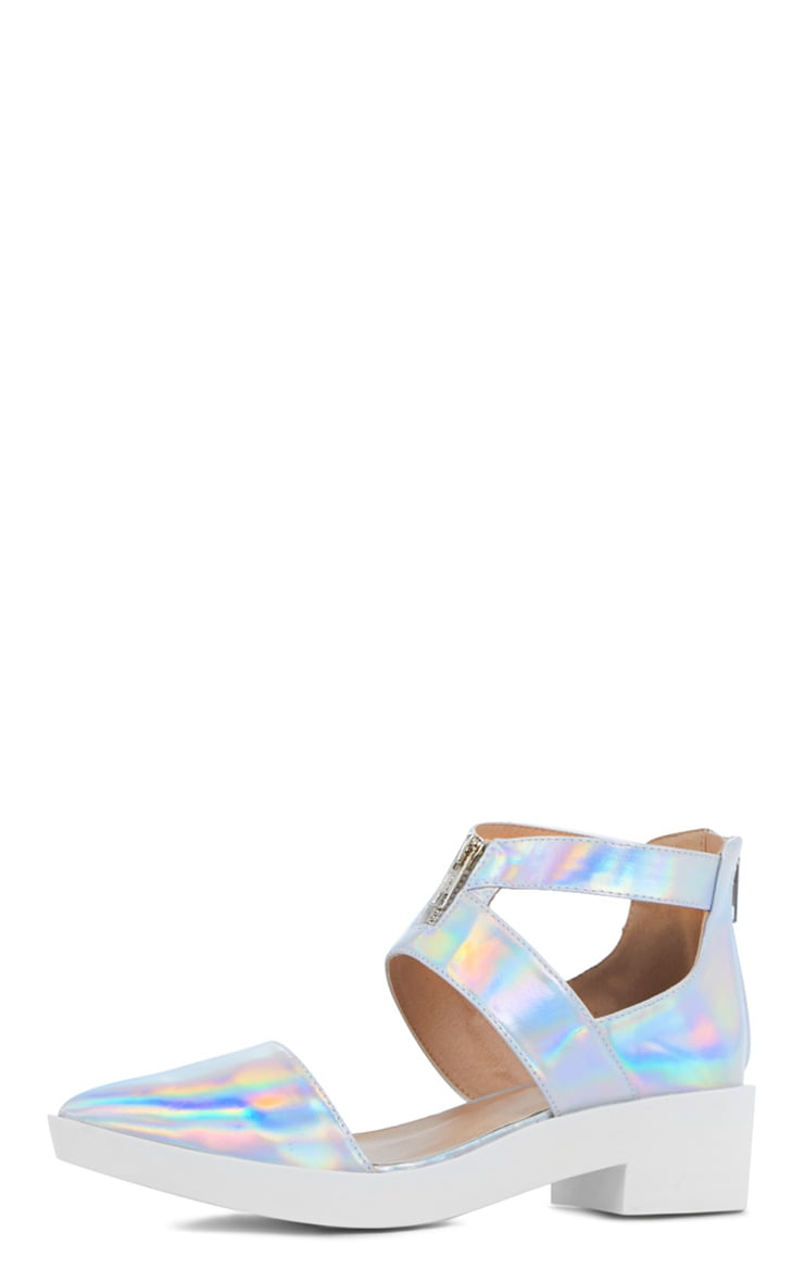 Sage Holographic Cut Out Pointed Shoe 3