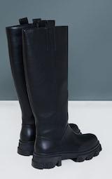 Black Pu Round Toe Chunky Welly Knee Boots 4