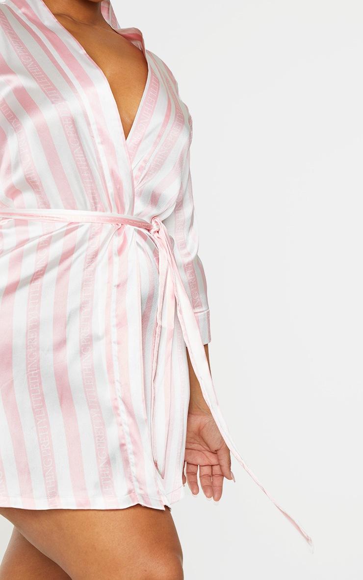 Plus Baby Pink Stripe Satin Robe 4