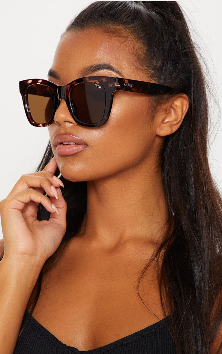 0163ac2628 QUAY AUSTRALIA Brown After Hours Oversized Sunglasses image 1