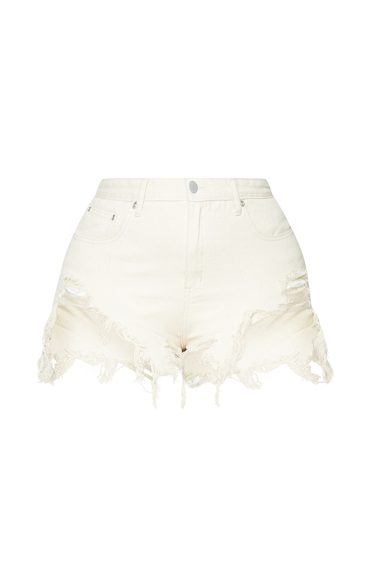 Plus Ecru Mid Wash Extreme Thigh Rip Denim Shorts 6
