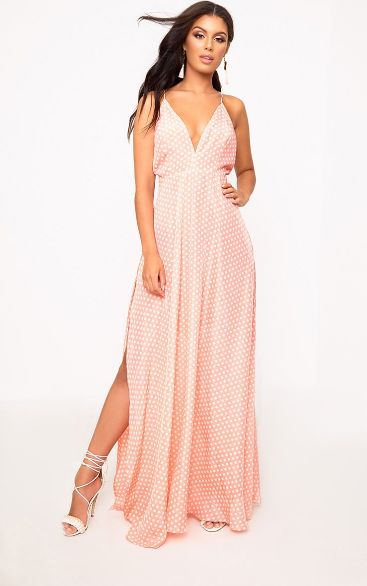 Pink Polkadot Extreme Split Strappy Back Maxi Dress 1
