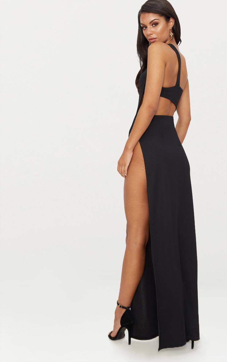 Black One Shoulder Extreme Split Cut Out Detail Maxi Dress 2