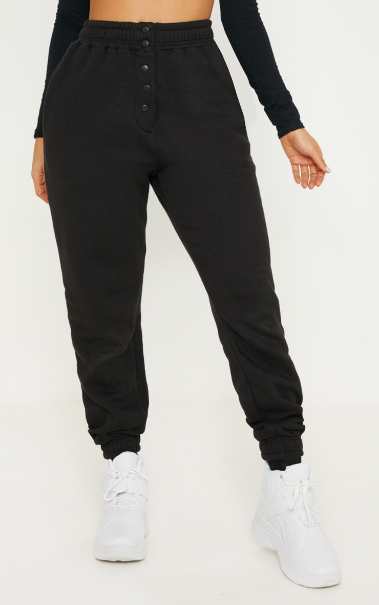 Black Popper Front Track Pants 2