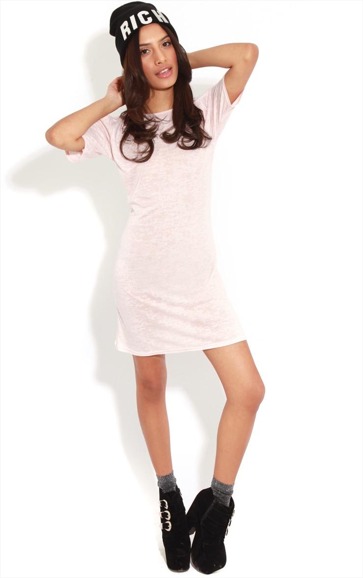 Gena Pink Burnout Cut Out Shoulder Dress 3