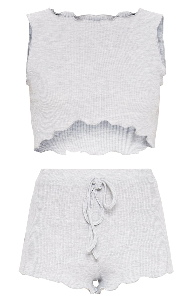 Grey Ribbed Frill Edge Short PJ Set 3