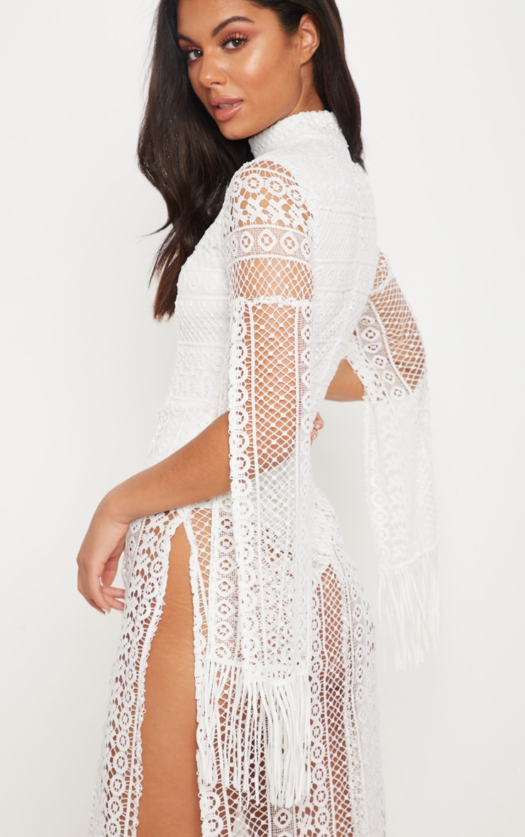White Crochet Split Leg Maxi Dress 4