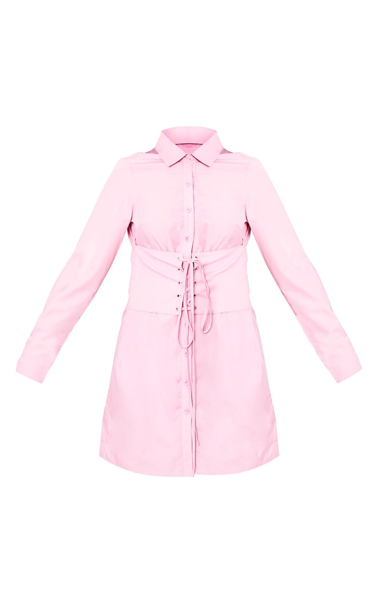 Willow Dusty Pink Corset Lace Up Open Shirt Dress 3