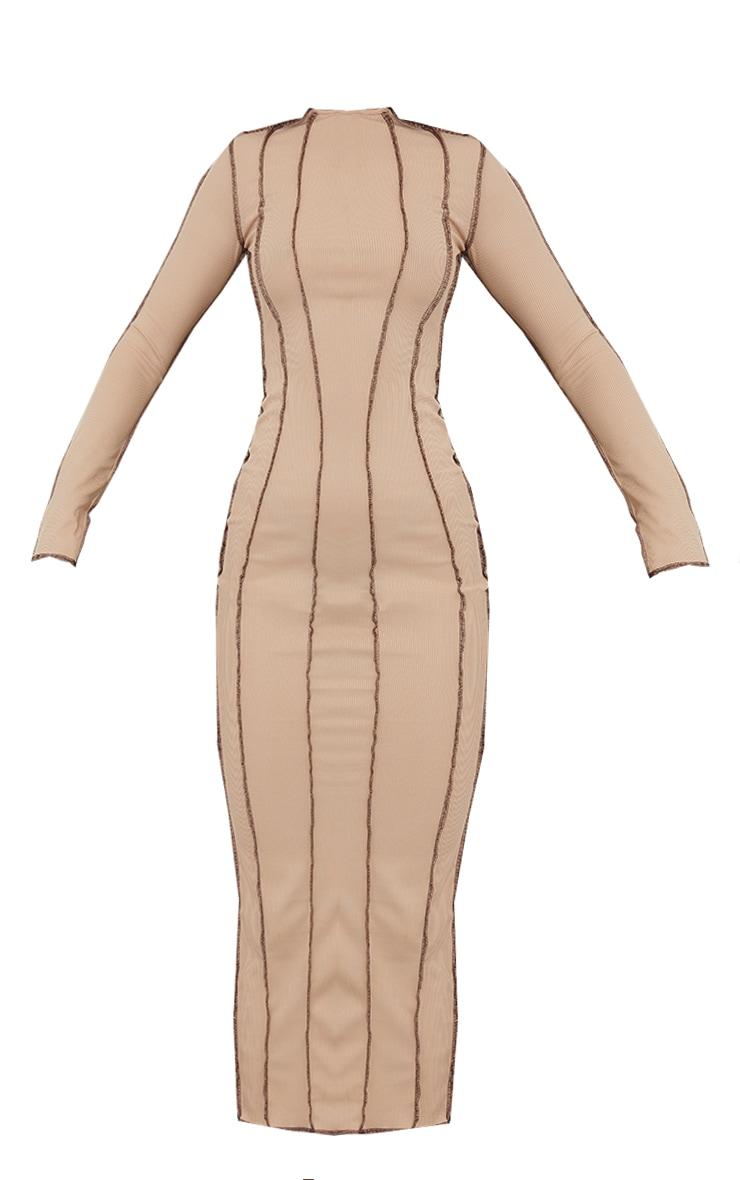 Nude Rib Asymmetric Seam Detail Long Sleeve Midi Dress 5