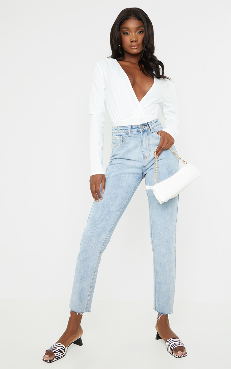 Tall White Plunge Bodysuit 3
