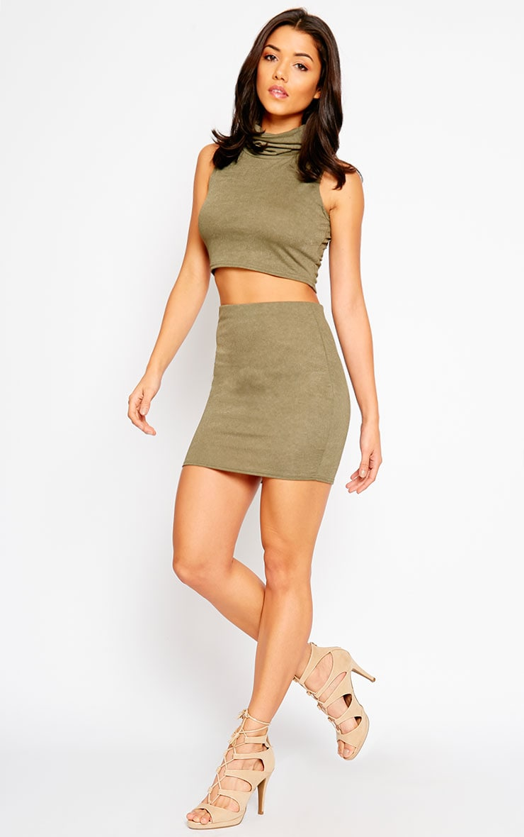Joni Khaki Sleeveless Roll Neck Top 3