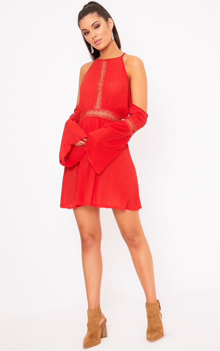 Red Cheesecloth Cold Shoulder Swing Dress  4