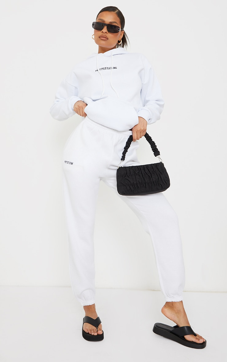 PRETTYLITTLETHING White Block Embroidered Joggers 1