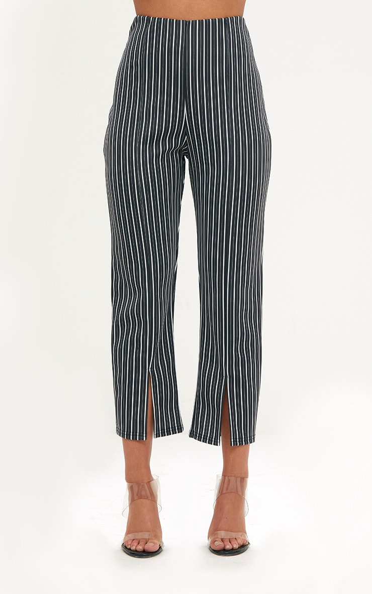 Black Stripe Front Split Straight Leg Trousers 2